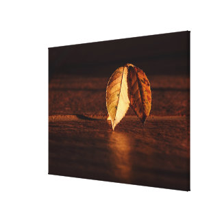 Golden Autumn Leaves Modern Fine Art Photography Gallery Wrapped Canvas