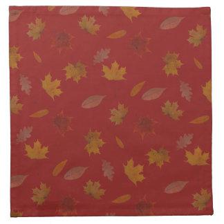 Golden Autumn Leaves on Red Custom Color Napkin