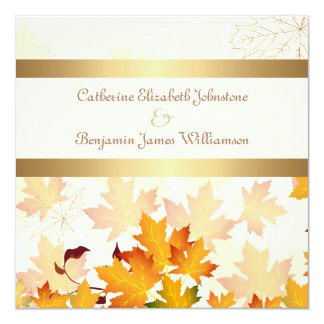 Golden Autumn Leaves Wedding Card