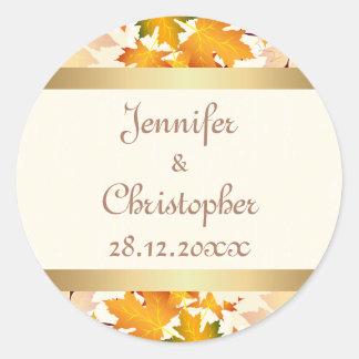 Golden Autumn Leaves Wedding Classic Round Sticker