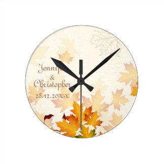 Golden Autumn Leaves Wedding Memento Clock