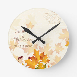 Golden Autumn Leaves Wedding Memento Round Clock