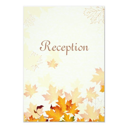 Golden Autumn Leaves Wedding Reception Card