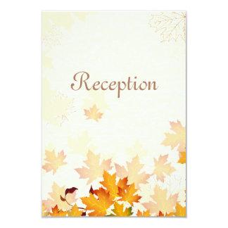 Golden Autumn Leaves Wedding Reception Card 9 Cm X 13 Cm Invitation Card