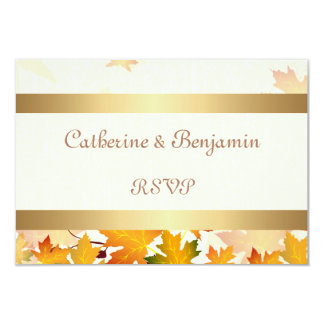 Golden Autumn Leaves Wedding RSVP 9 Cm X 13 Cm Invitation Card
