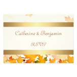 Golden Autumn Leaves Wedding RSVP Personalised Announcement