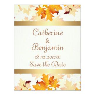 Golden Autumn Leaves Wedding Save the Date 11 Cm X 14 Cm Invitation Card