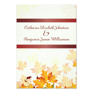 Golden Autumn Leaves with Red Wedding Card