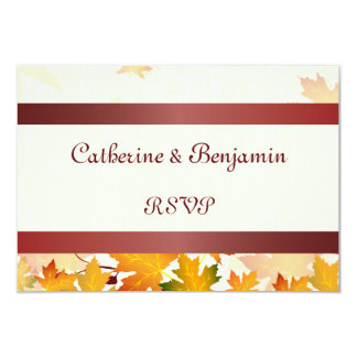 Golden Autumn Leaves with Red Wedding RSVP 9 Cm X 13 Cm Invitation Card