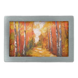 Golden autumn rectangular belt buckle