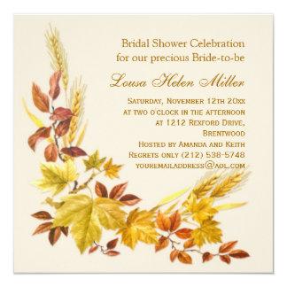 Golden autumnal leaves Bridal Shower Invitation