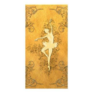 Golden ballerina custom photo card
