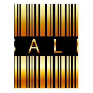 Golden barcode postcard