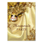 Golden Baroque Masquerade Party 11 Cm X 16 Cm Invitation Card