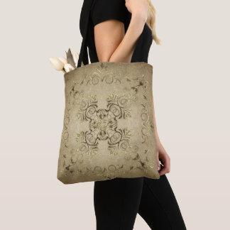 Golden baroque on grunge background. tote bag