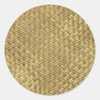 Golden Basket Weave Design Round Sticker