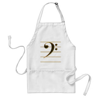 Golden Bass Clef Music Note Standard Apron
