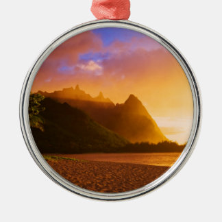 Golden beach sunset, Hawaii Christmas Ornament