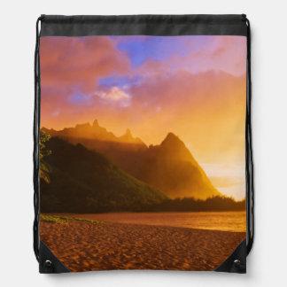 Golden beach sunset, Hawaii Drawstring Bag