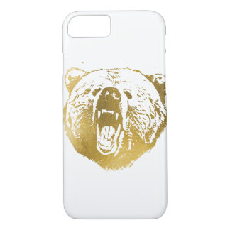 Golden Bear iPhone Case, White and Gold iPhone 7 Case