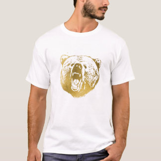 Golden Bear Men's Shirt, White and Gold T-Shirt