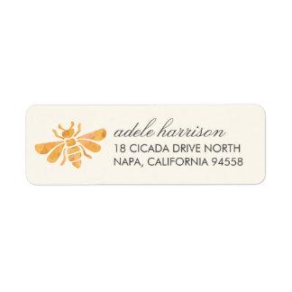 Golden Bee Watercolor Return Address Label