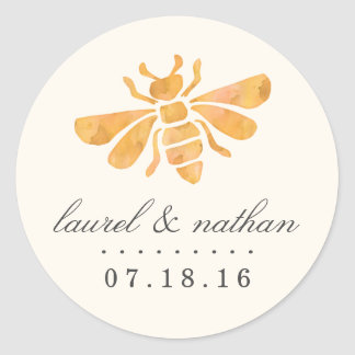 Golden Bee Watercolor Wedding Classic Round Sticker