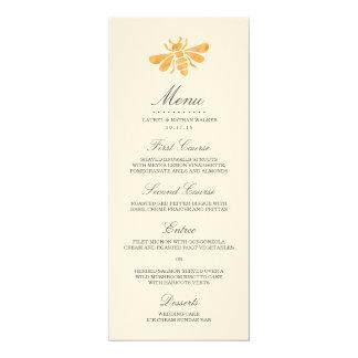 Golden Bee Wedding Menu 10 Cm X 24 Cm Invitation Card