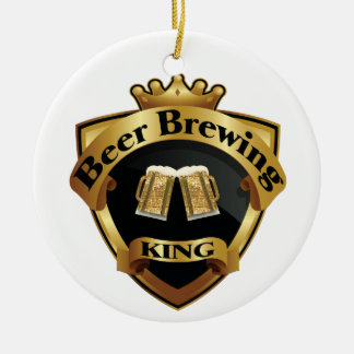 Golden Beer Brewing King Crown Crest Christmas Ornament