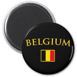 Golden Belgium 6 Cm Round Magnet