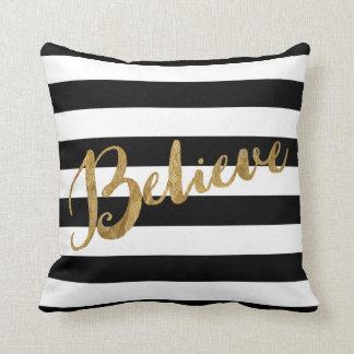 Golden Believe Stripes Cushion