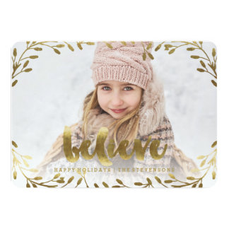 Golden Believe | Whimsical Wreath Holiday Card