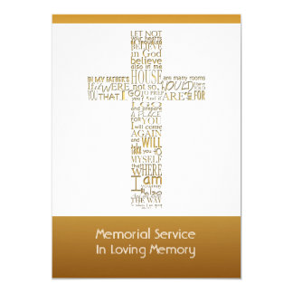 Golden Bible Verses John 14 Memorial Service 2 13 Cm X 18 Cm Invitation Card