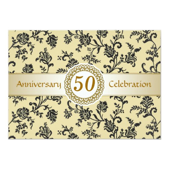 Golden Black Damask, 50th Wedding Anniversary Card