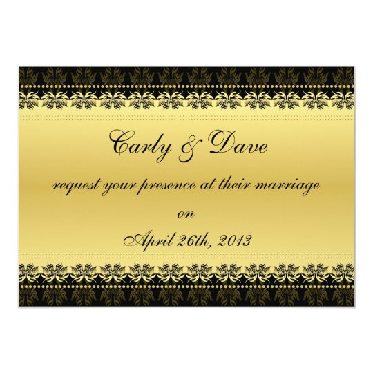 Golden Black Damask Wedding Invitation
