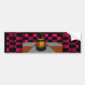 Golden Black Dragon Knight Chess Design 3D Bumper Sticker