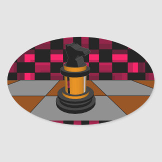 Golden Black Dragon Knight Chess Design 3D Oval Sticker