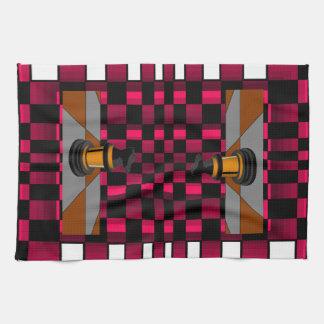 Golden Black Dragon Knight Chess Design 3D Tea Towel