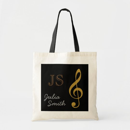 golden black music g-clef note personalised tote bag