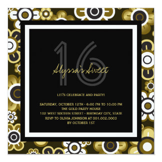 Golden Blooms Chic Sweet 16 Birthday Party Invite