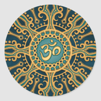 Golden Blue Aum Star Classic Round Sticker