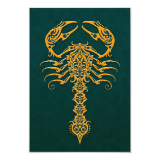 Golden Blue Tribal Scorpion Personalized Invite