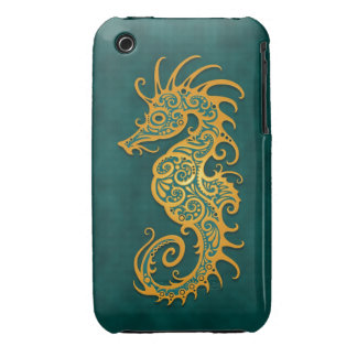 Golden Blue Tribal Seahorse iPhone 3 Case