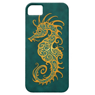 Golden Blue Tribal Seahorse iPhone 5 Cover