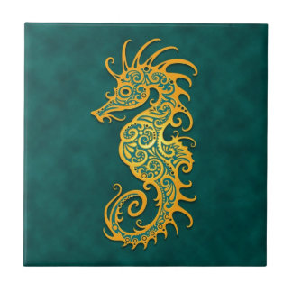 Golden Blue Tribal Seahorse Small Square Tile