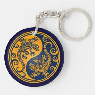 Golden Blue Yin Yang Lizards Key Ring