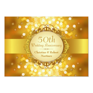 Golden Bokeh 50th Anniversary Party Cards