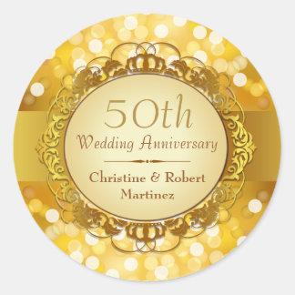 Golden Bokeh 50th Anniversary Sticker