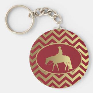 Golden/Bordeaux Pleasure Horse Basic Round Button Key Ring