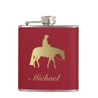 Golden/Bordeaux Pleasure Horse Hip Flask